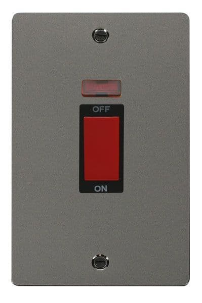 Click Scolmore FPBN203BK 2 Gang 45A DP Switch + Neon  - Black
