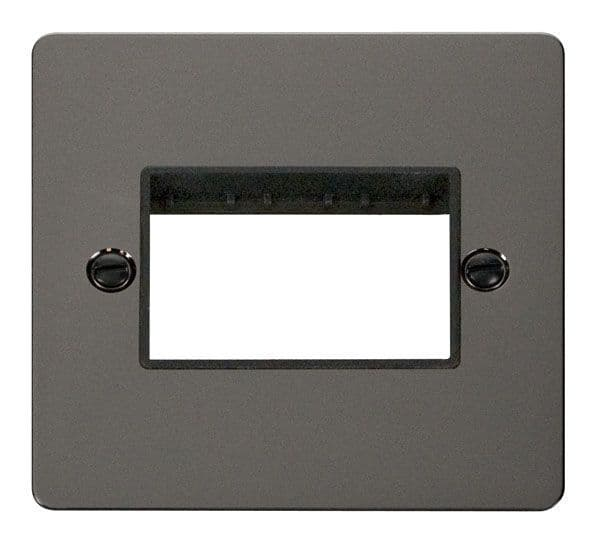 Click Scolmore FPBN403BK 1 Gang Plate Triple Switch Aperture  - Black