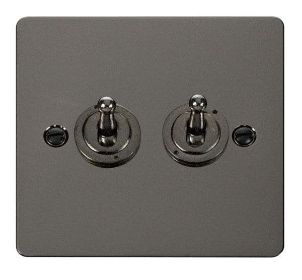 Click Scolmore FPBN422 10AX 2 Gang 2 Way Toggle  Switch