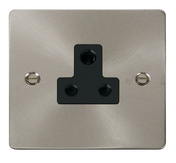 Click Scolmore FPBS038BK 5A Round Pin Socket Outlet  - Black