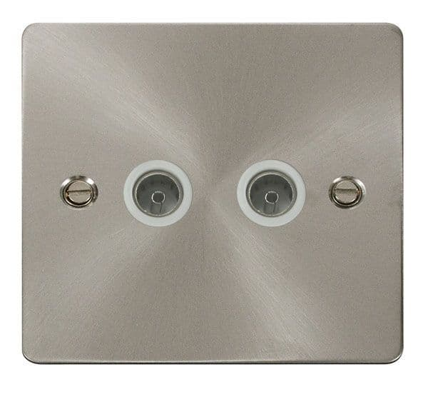 Click Scolmore FPBS066WH 2 Gang Coaxial Socket  - White