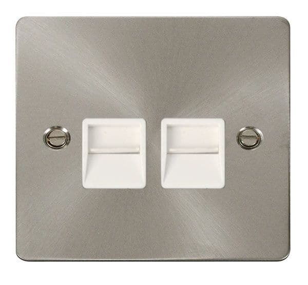Click Scolmore FPBS126WH Twin Telephone Socket Secondary  - White