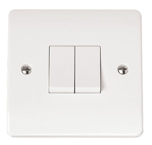 Click Scolmore MODE CMA012 10AX 2 Gang 2 Way Plate Switch