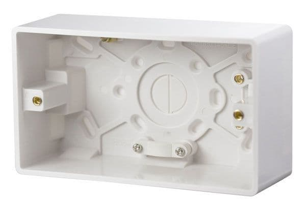 Click Scolmore MODE CMA086 2 Gang 47mm Deep Pattress Box With Cable Restraint