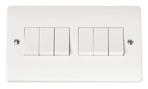 Click Scolmore MODE CMA105 10AX 6 Gang 2 Way Plate Switch
