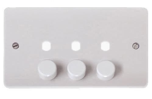 Click Scolmore MODE CMA147PL 3 Gang Double Dimmer Plate & Knobs