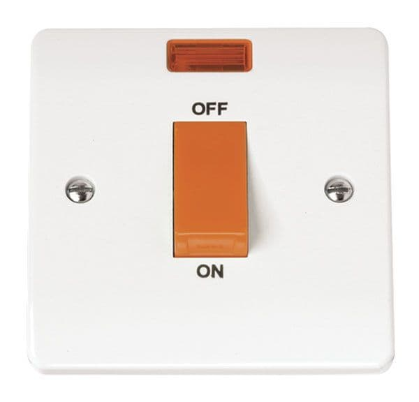 Click Scolmore MODE CMA201 45A 1 Gang Single Cooker Switch With Neon