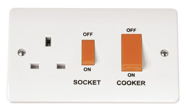 Click Scolmore MODE CMA204 45A Cooker Switch With 13A DP Switched Socket Outlet