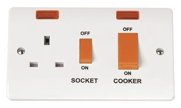 Click Scolmore MODE CMA205 45A Cooker Switch With 13A DP Switched Socket Outlet And Neons