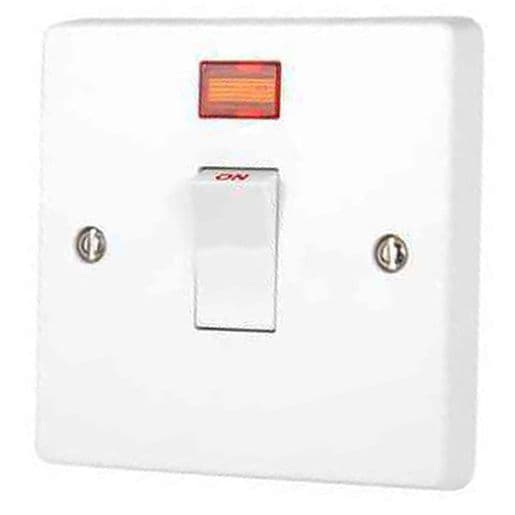Crabtree 4015/3  White Moulded Double Pole Switch With Neon 20A