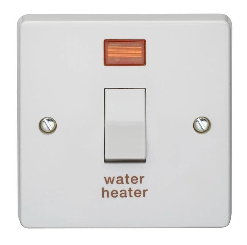 """Crabtree 4015/31 White Moulded Double Pole Switch With Neon Engraved """"WATER HEATER"""" 20A"""