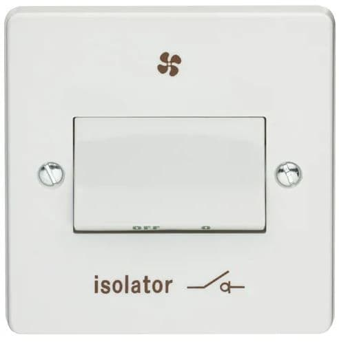 Crabtree 4017/1 White Moulded 1 Gang Triple Pole Isolator Switch With Isolator & Fan Symbol 6A