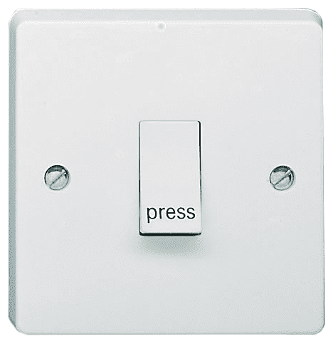 Crabtree 4096/P White 1 Gang 2 Way Single Pole Retractive Plateswitch Marked 'Press' 10A