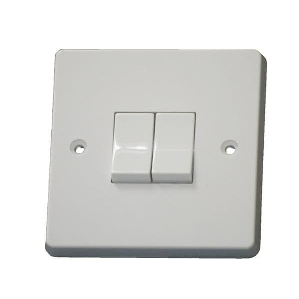 Crabtree 4172 White Moulded 2 Gang 2 Way Single Pole Plateswitch 10A