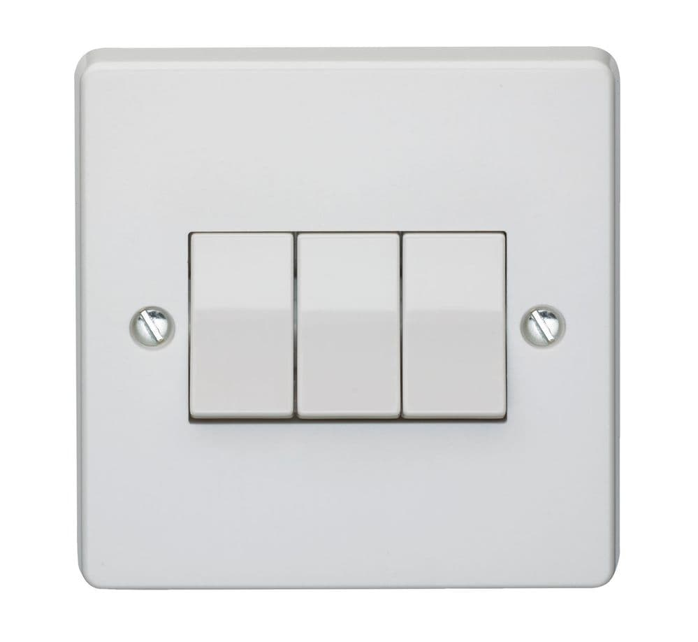 Crabtree 4173 White Moulded 3 Gang 2 Way Single Pole Plateswitch 10A