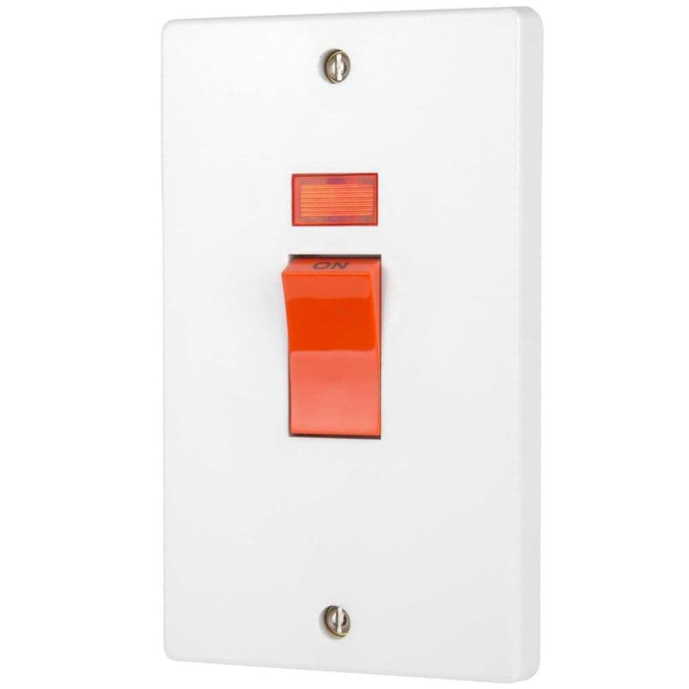 Crabtree 4500/3 White Moulded Double Pole Switch With Neon On Large Vertical Plate 50A