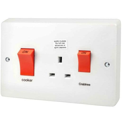 Crabtree 4521/1 Slim Line White Double Pole Cooker Control Unit With 13A Socket 45A