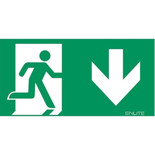 Enlite EN-LG2D 2xDown PVC Emergency Exit Legends for EN-EMLED21,22 & 24