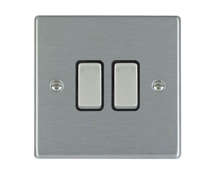 Hartland 74R22SS-B and 74R22SS-W Stainless Steel Light Switch 2G 2W