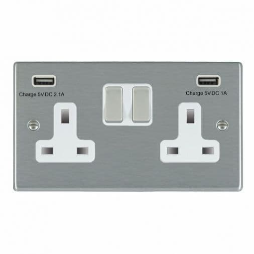 Hartland 74SS2USBULTSS-W  Stainless Steel 2G Switched 2 USB Sockets