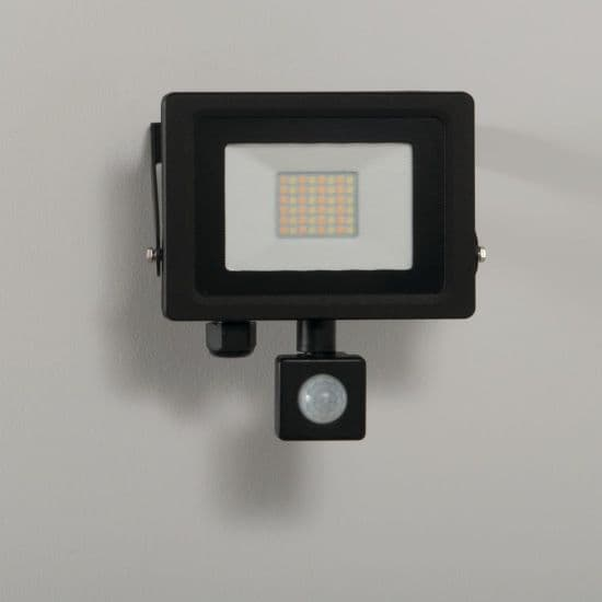 KSR Lighting KSR5283BLK Siena CCT 20w LED IP65 Floodlight Black c/w PIR