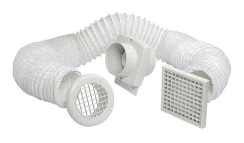 Manrose Primero FD100S In-Line Shower Extractor Fan Kit with PVC Ducting & Grille 100mm