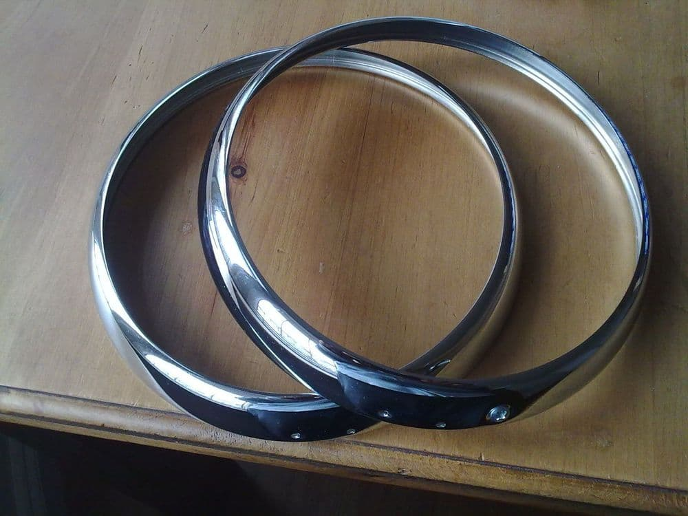 MORRIS QUARTER TON, 1/2 TON + PICK UP, CHROME HEADLAMP RIMS X 2 (FREE UK POST)