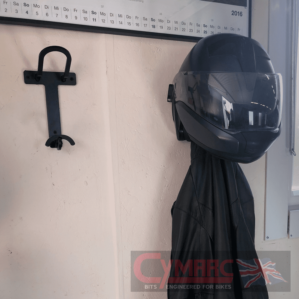 Motorcycle Helmet and Jacket Hanger - Heavy Duty, Wall Mounted