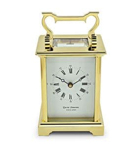 David Peterson Anglais 8 day Mechanical Carriage Clock. DP/AG/SK with Bell Strike Movement