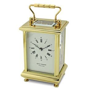 David Peterson Boite 8 day Mechanical Carriage Clock. DP/BT/SK with Bel Strike Movement