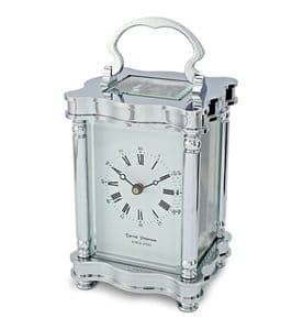David Peterson Doucine 8 day Mechanical Carriage Clock. Y/DP/DC/S/SK with Strike Movement in Chrome