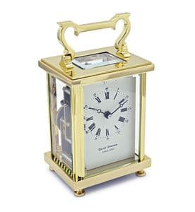 David Peterson Flat Brass 8 Day Carriage Clock DP/FB/SK with Bell Strike Movement