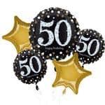 50th Birthday Gold Sparkling  Helium Balloon Bouquet