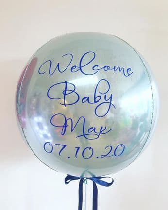 Personalised  Baby Blue Orbz Helium Balloon