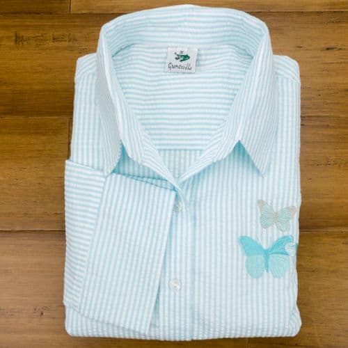 Grenouille Ladies 3/4 Sleeve Aqua and White Stripe  Seersucker Shirt with Butterfly Embroidery