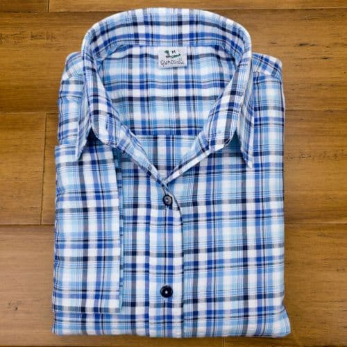 Grenouille Ladies 3/4 Sleeve Blue and White Country Check Seersucker Shirt