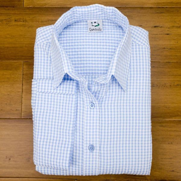 Grenouille Ladies 3/4 Sleeve Blue and White Gingham Check Seersucker Shirt