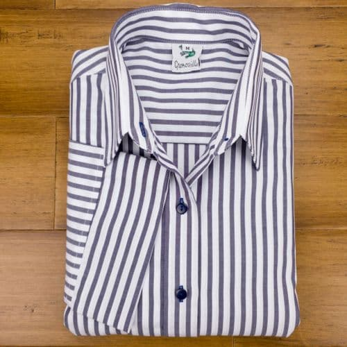 Grenouille Ladies 3/4 Sleeve Dark Navy / Charcoal Grey and White Stripe Twill Shirt