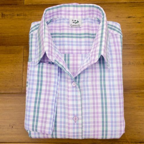 Grenouille Ladies 3/4 Sleeve Lilac, Blue and Emerald Green Check Seersucker Shirt