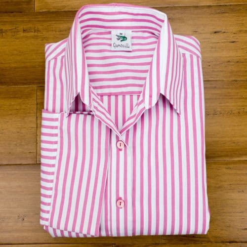 Grenouille Ladies 3/4 Sleeve Pink and White Stripe Twill Shirt