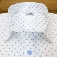 Grenouille Ladies Cap Sleeve White with Blue Polka Dots Shirt
