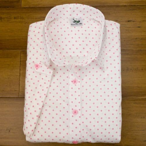 Grenouille Ladies Cap Sleeve White with Pink Polka Dots Shirt