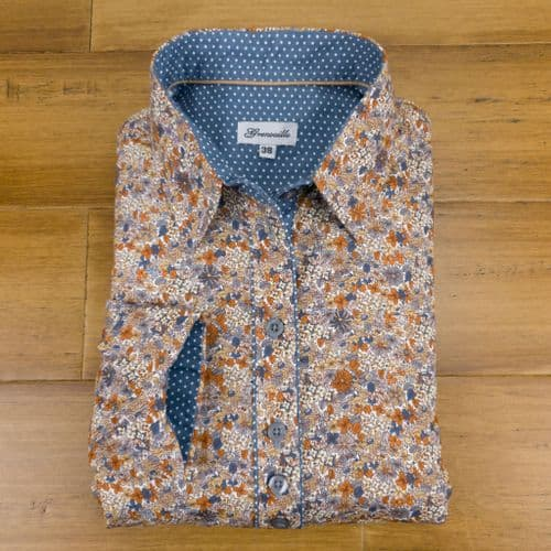 Grenouille Ladies Long Sleeve Beige and Blue Flower Print Shirt