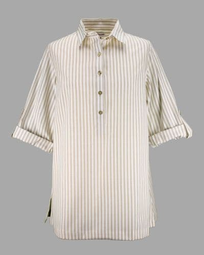 Grenouille Ladies Long Sleeve Beige and White Stripe Collared Tunic