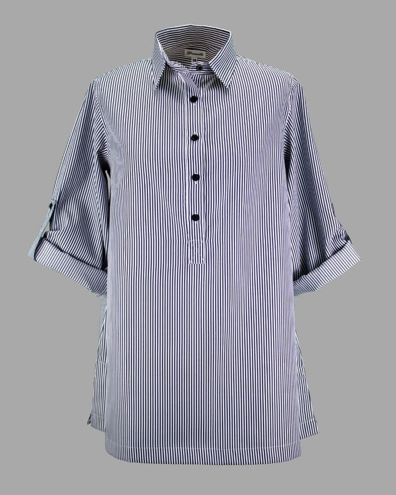 Grenouille Ladies Long Sleeve Black and White Thin Stripe Collared Tunic