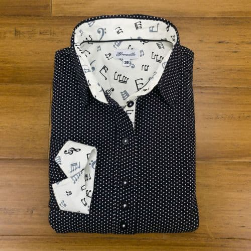 Grenouille Ladies Long Sleeve Black & White Polka Dot Shirt with Musical Notes Details