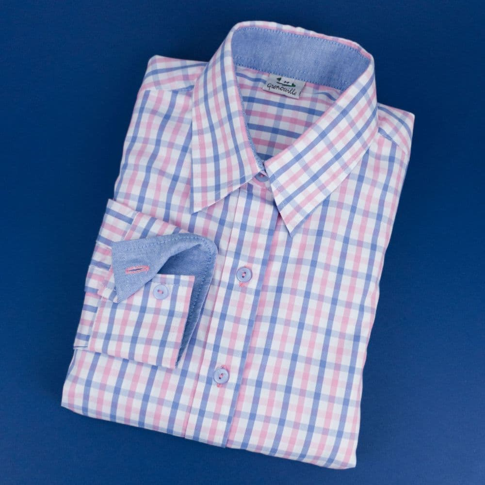 Grenouille Ladies Long Sleeve Blue and Pink Gingham Check Easy Care Cotton Shirt