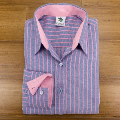 Grenouille Ladies Long Sleeve Blue and Pink Stripe Cotton Oxford Shirt