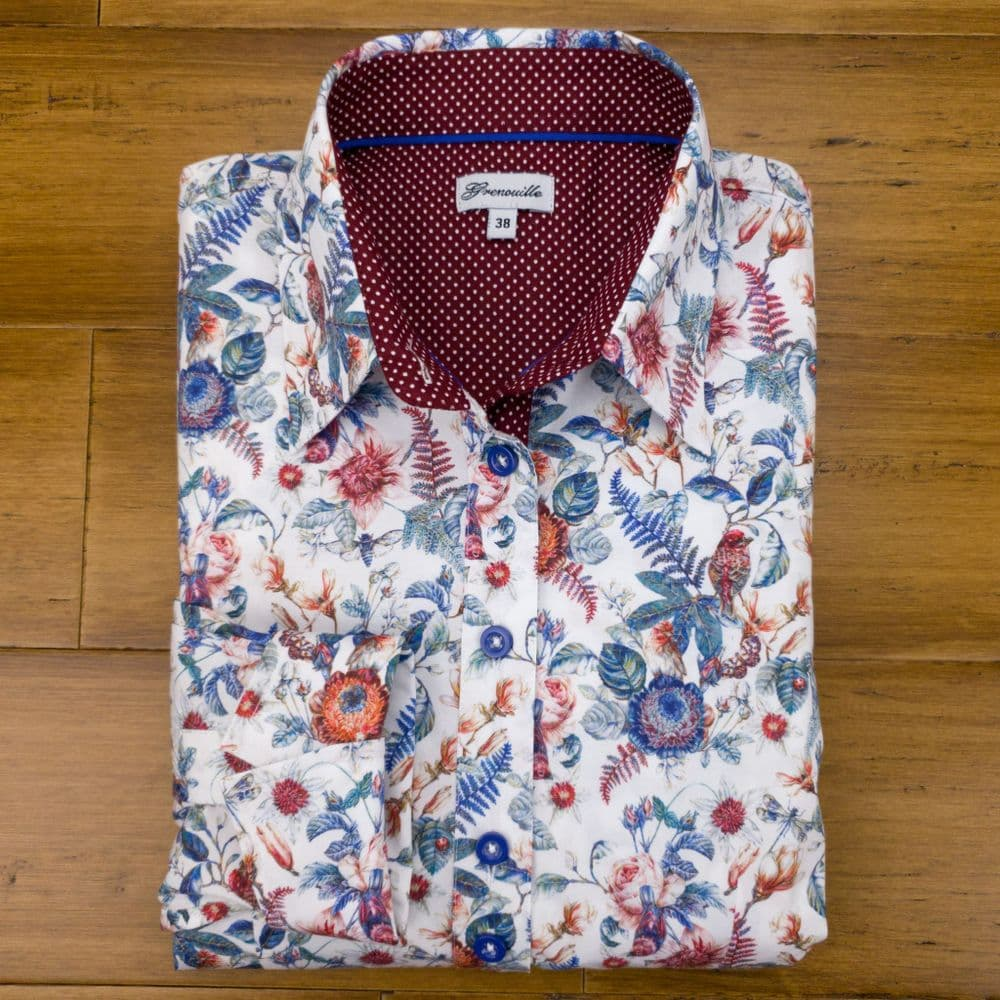 Grenouille Ladies Long Sleeve Blue and Red Birds and Flower Print Shirt