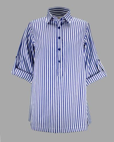Grenouille Ladies Long Sleeve Blue and White Stripe Collared Tunic
